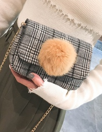 Lovely Black Fuzzy Ball Decorated Bag