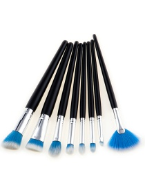 Fashion White+blue Fan Shape Decorated Brushes (8pcs)