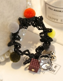 Lovely Black Fuzzy Ball Decorated Lace Hair Band