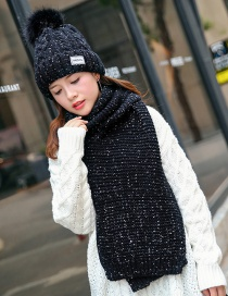 Trendy Black Pure Color Design Cap(with Scarf)