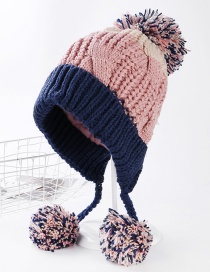 Trendy Navy Fuzzy Balls Decorated Thicken Cap