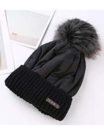 Trendy Black Fuzzy Ball Decorated Pure Color Cap