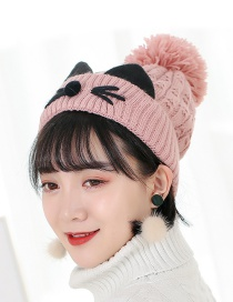 Trendy Pink Cat Pattern Design Thicken Cap