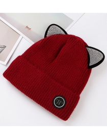 Trendy Claret Red Cat Ears Shape Design Knitted Cap