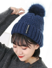 Trendy Navy Pineapple Shape Design Thicken Knitted Cap