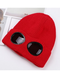 Trendy Red Glasses Decorated Simple Cap