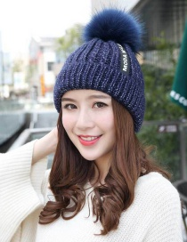 Fashion Navy The Letter Patch Decorated Cap