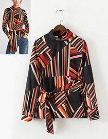 Fashion Multi-color Color-matching Decorated Blouse