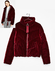 Fashion Claret-red Pure Color Decorated Cotton-padded Coats