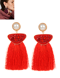 Exaggerated Red Geometric Shape Diamond Decorated Tassel Earrings