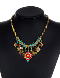 Bohemia Gold Color Round Shape Decorated Necklace