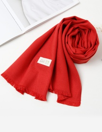 Fashion Claret Red Pure Color Decorated Baby Scarf