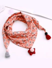 Fashion Light Pink Rabbit Pattern Decorated Scarf