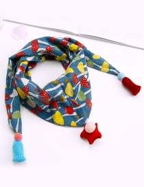Fashion Blue Mushroom Pattern Decorated Scarf