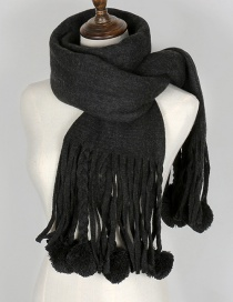 Lovely Black Fuzzy Ball Decorated Tassel Scarf