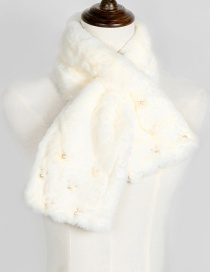 Lovely White Mickey Shape Decorated Scarf