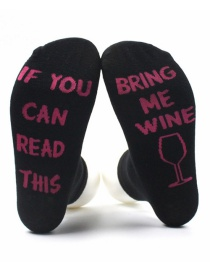 Fashion Plum-red+black Letter Shape Decorated Sock