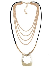 Fashion Gold Color Hollow Out Decorated Multilayer Necklace