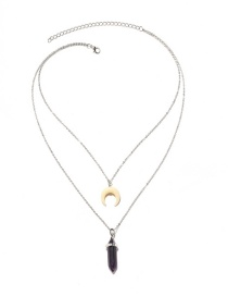 Personality Silver Color Moon Shape Decorated Double-layer Necklace