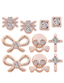 Personality Gold Color Bowknot Shape Decorated Earrings (5pair)