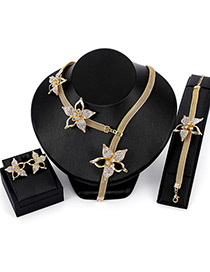 Fashion Gold Color Flower Decorated Simple Jewelry Sets