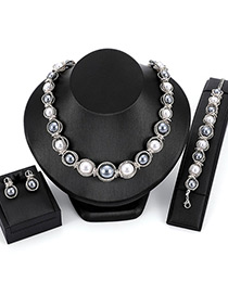 Fashion Silver Color Pearls Decorated Simple Jewelry Sets