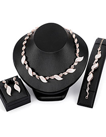 Fashion Rose Gold Leaf Shape Decorated Jewelry Sets
