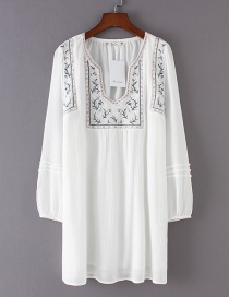 Fashion White Flower Pattern Decorated Long Sleeves Dress