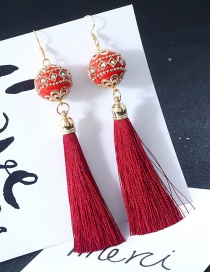 Vintage Claret Red Ball Shape Decorated Earrings