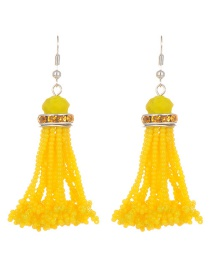 Bohemia Yellow Pure Color Decorated Tassel Earrings