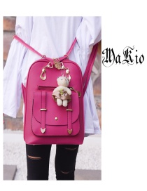 Fashion Plum Red Bear Decorated Backpack