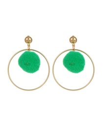 Fashion Green Ball Shape Decorated Pom Earrings