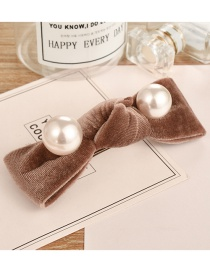 Fashion Light Coffee Pearl Decorated Hair Clip