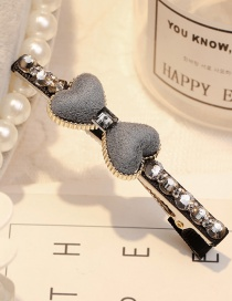 Elegant Gray Double Heart Shape Decorated Hairpin