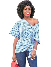 Fashion Blue+white Grid Pattern Decorated Shirt
