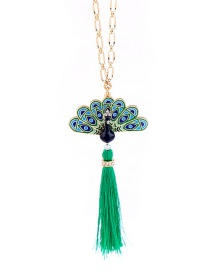 Fashion Green+gold Color Peacock Shape Decorated Necklace