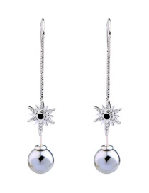 Fashion Silver Color+gray Star Shape Decorated Earrings