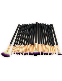 Fashion Purple+yellow+black Sector Shape Decorated Makeup Brush ( 20 Pcs)