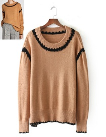Fashion Brown Pure Color Decorated Sweater