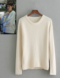 Fashion Beige Pure Color Decorated Sweater