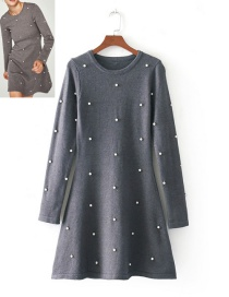 Fashion Gray Pearl Decoraterd Dress