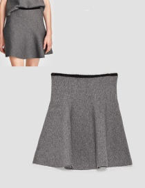 Fashion Gray Pure Color Decorated Skirt