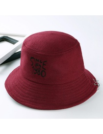 Fashion Claret Red Letter Pattern Decorated Hat
