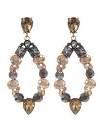 Fashion Champagne Water Drop Decorated Earrings