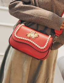 Fashion Red Pearl Decorated Shoulder Bag