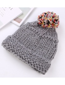 Fashion Gray Fuzzy Ball Decorated Hat