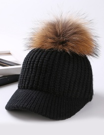 Fashion Black Fuzzy Ball Decorated Cap