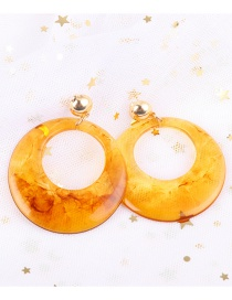 Fashion Yellow Circular Ring Shape Decorated Earrings