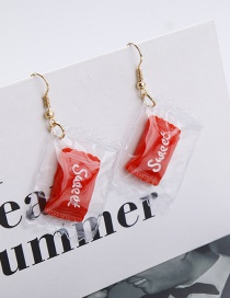 Fashion Red Candy Shape Decorated Earrings