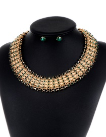 Fashion Gold Color+green Pure Color Decorated Jewelry Set